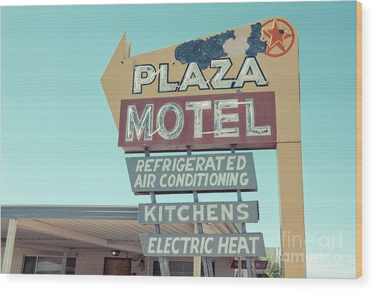 Plaza Motel Neon Sign Overton Nevada Wood Print