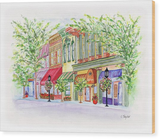 Plaza Shops Wood Print