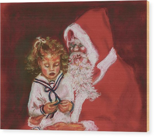 Please Mr Santa Wood Print by Yvonne Ayoub