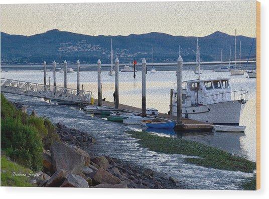 Pleasure Boat Dock Oil Wood Print