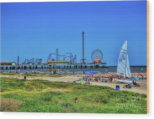 Pleasure Pier Sunny Day Wood Print
