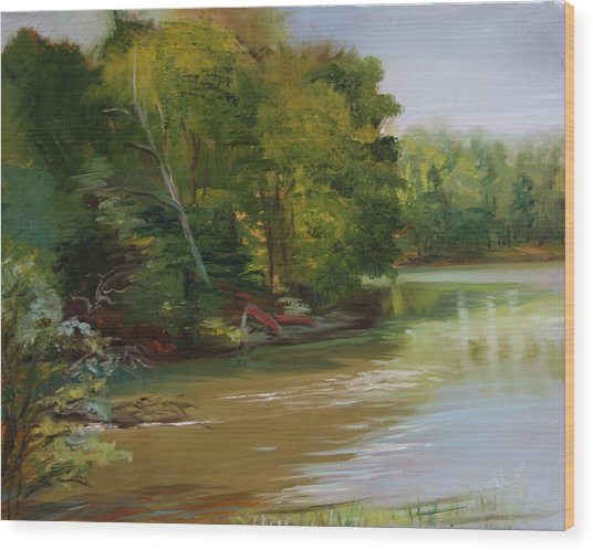 Plein Air Willow Creek Wood Print by Jill Holt
