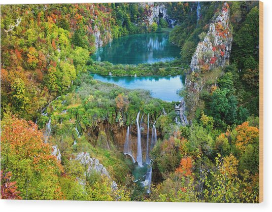 Plitvice Lakes In Croatia Wood Print