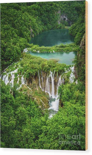 Plitvice Lakes National Park - A Heavenly Crystal Clear Waterfall Vista, Croatia Wood Print