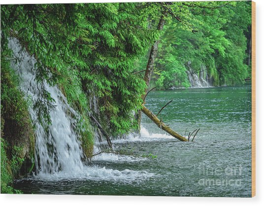 Plitvice Lakes National Park, Croatia - The Intersection Of Upper And Lower Lakes Wood Print