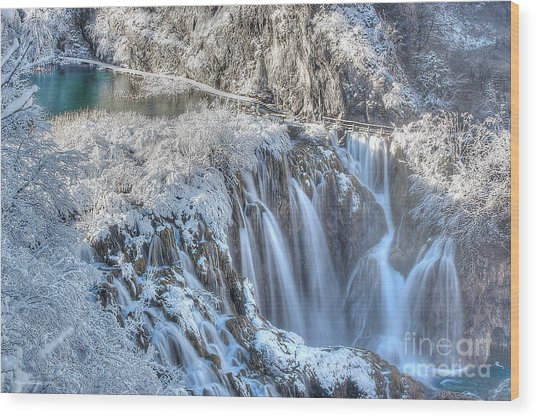 Plitvice Winter Wood Print