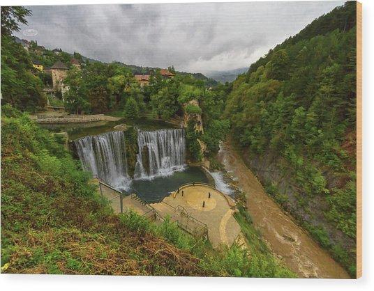 Pliva Waterfall, Jajce, Bosnia And Herzegovina Wood Print