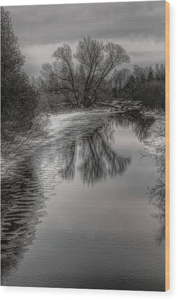 Plover River Black And White Winter Reflections Wood Print