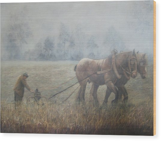 Plowing It The Old Way Wood Print