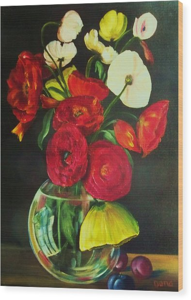 Plum Ranunculus Wood Print by Dana Redfern