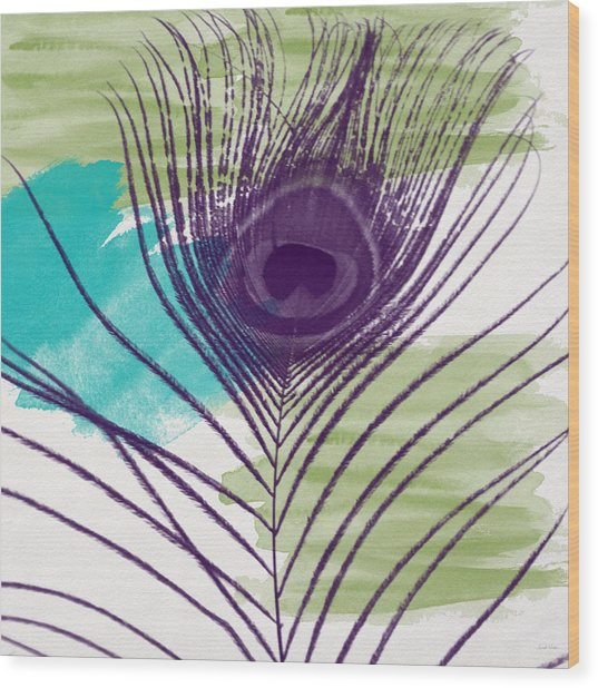 Plumage 2-art By Linda Woods Wood Print