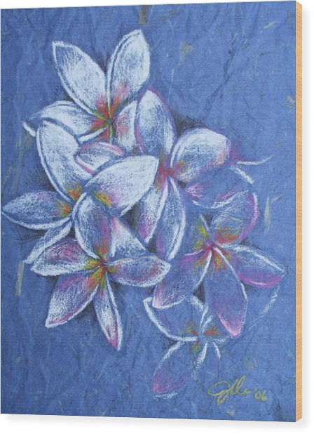 Plumeria Wood Print by Jennifer Bonset