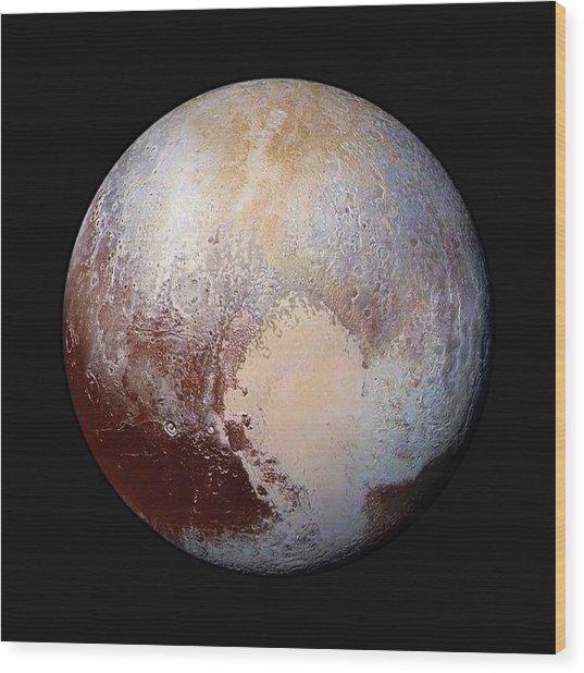 Pluto Dazzles In False Color - Square Crop Wood Print
