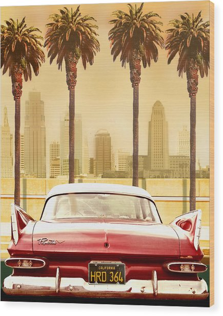Plymouth Savoy With Palm Trees Wood Print by Larry Butterworth
