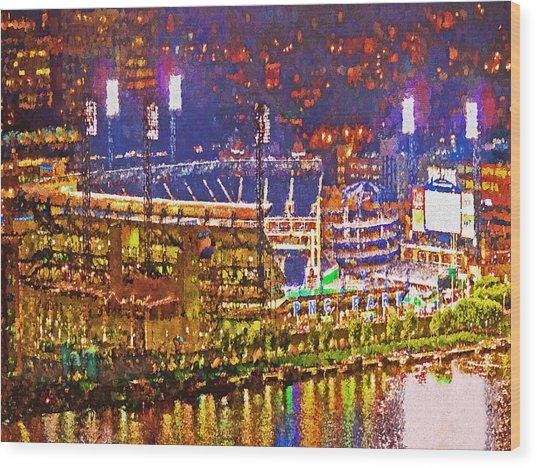 Pnc Park On A Light Up Night Wood Print