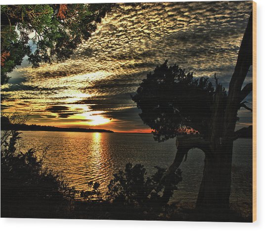 Pocasset Sunset Wood Print