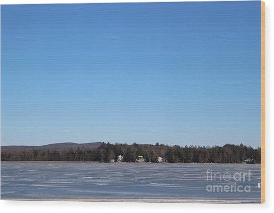 Poconos, The Lake In January Wood Print