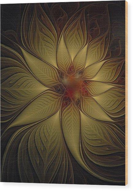 Poinsettia In Gold Wood Print
