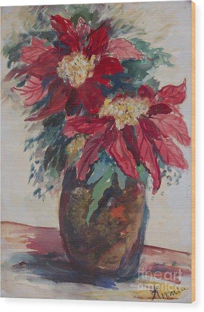 Poinsettias In A Brown Vase Wood Print