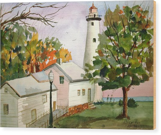 Point Aux Barques Lighthouse - Port Hope Mi Wood Print
