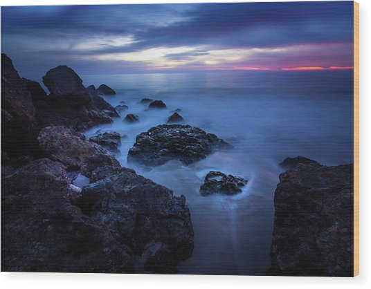 Point Dume Rock Formations Wood Print