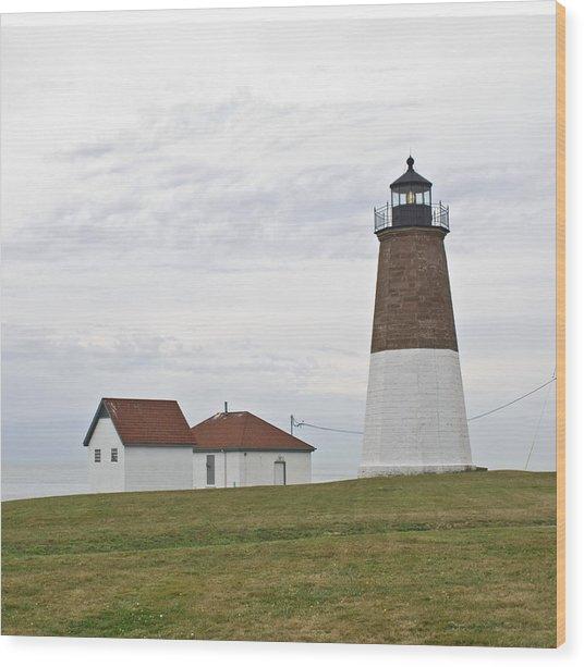 Point Judith Light Wood Print