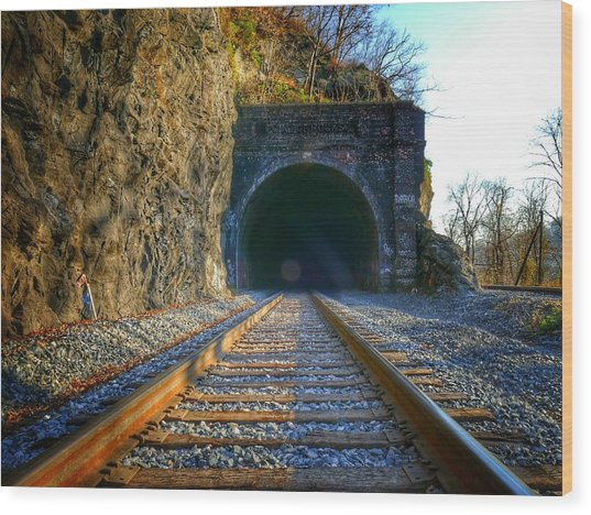 Wood Print featuring the photograph Point Of Rocks Train Tunnel by Ryan Shapiro