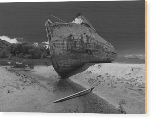 Point Reyes Boat Wood Print
