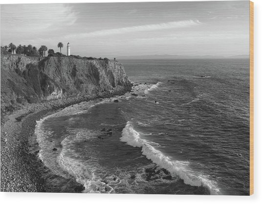 Point Vicente Lighthouse Palos Verdes California - Black And White Wood Print