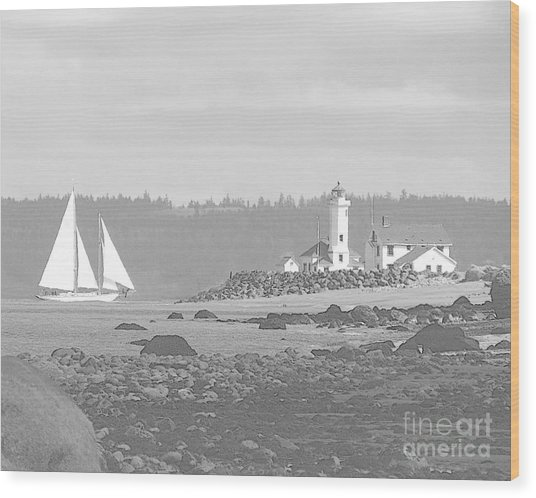 Point Wilson Lighthouse And Sailboat Wood Print