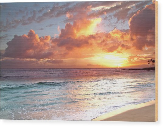 Poipu Beach Sunset Wood Print