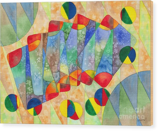 Poker Abstract Watercolor Wood Print