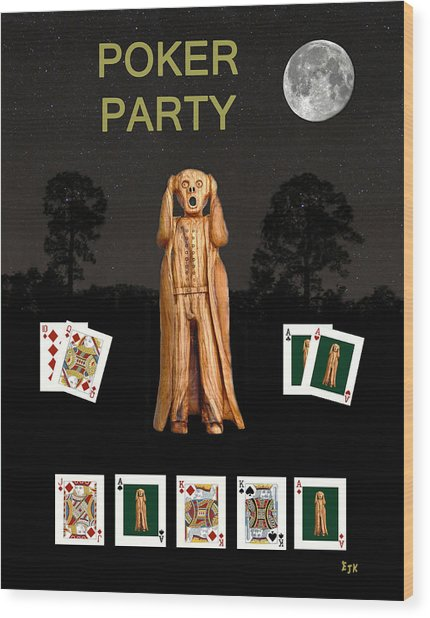 Poker Scream Party Poker Wood Print