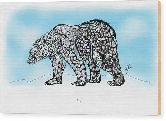 Polar Bear Doodle Wood Print