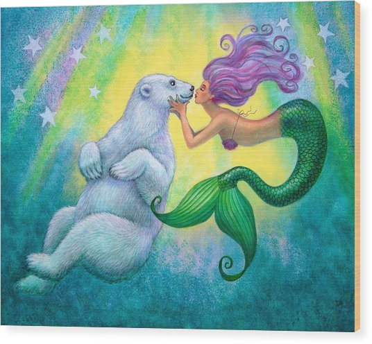 Polar Bear Kiss Wood Print