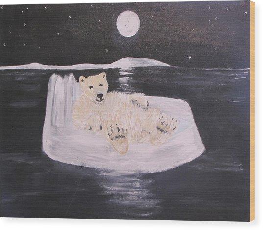 Polar Bear On Ice Wood Print