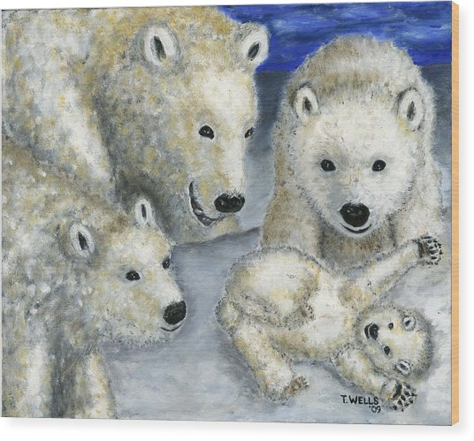 Polar Bears At Play In The Arctic Wood Print by Tanna Lee M Wells