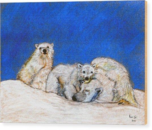 Polar Bears With Love Wood Print by Marie Loh