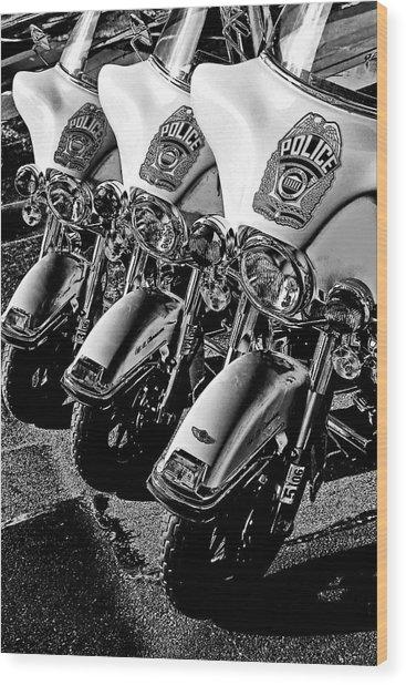 Police Bikes Wood Print