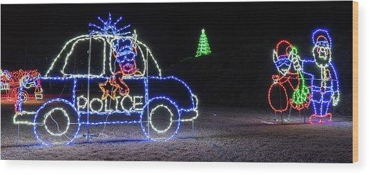 Police Lights Wood Print