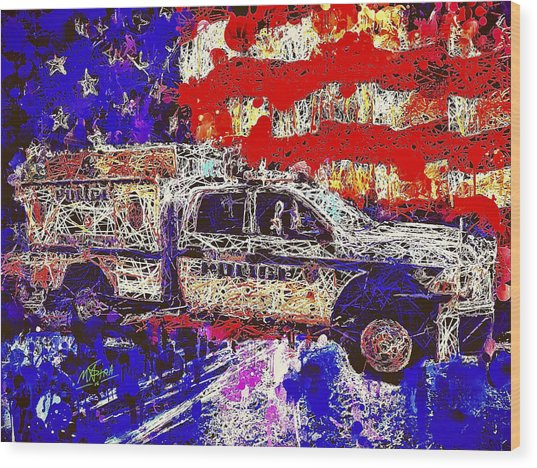 Police Truck Wood Print
