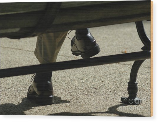 Polished Shoes On Bench Wood Print