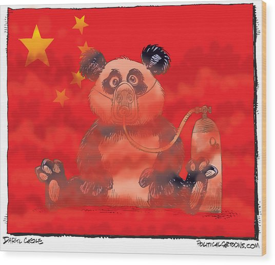 Pollution In China Wood Print
