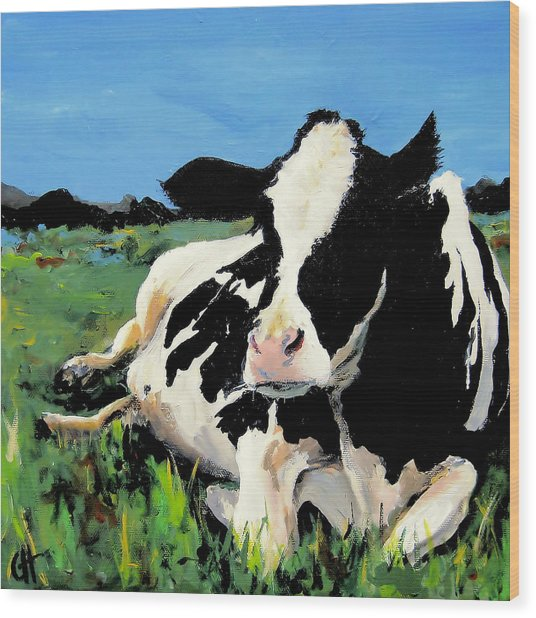 Polly The Cow Wood Print by Cari Humphry