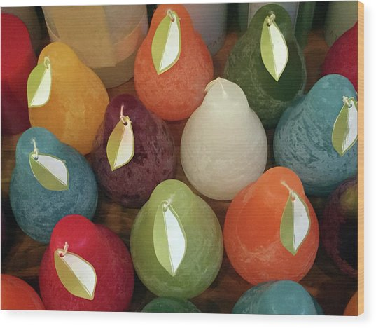 Polychromatic Pears Wood Print