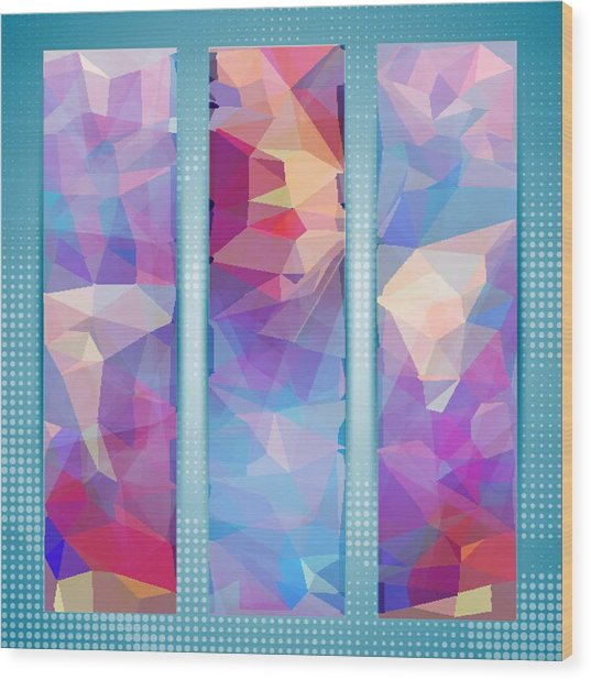 Polygon Abstract In 3 Frames Wood Print