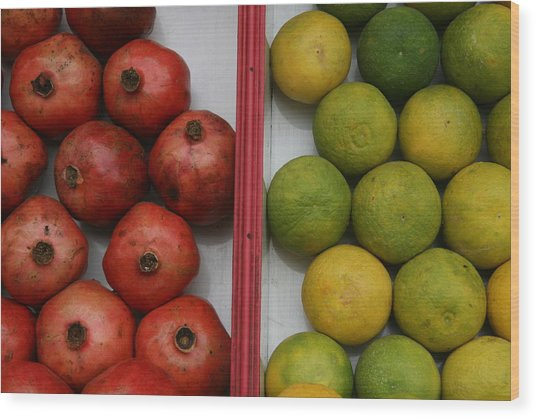Pomegranate And Sweet Lime Wood Print by Deepak Pawar