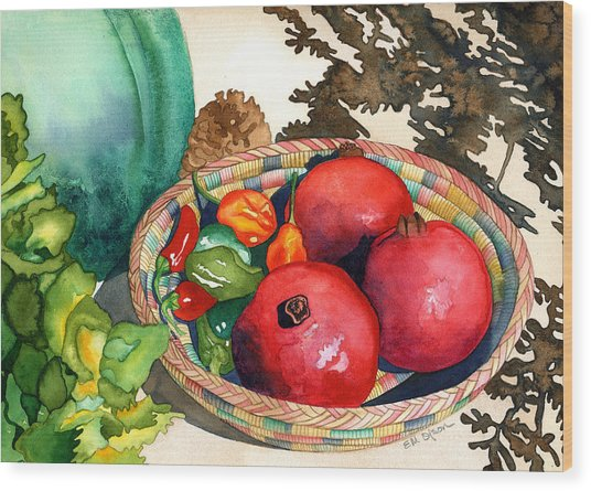 Pomegranates And Basket Wood Print by Eunice Olson