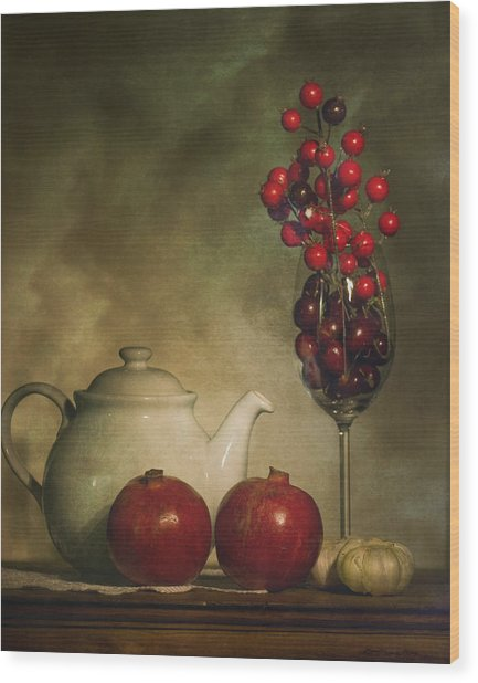 Pomegranates And Tea Pot Wood Print