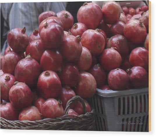 Pomegranates At Jerusalem's Old City Market Wood Print